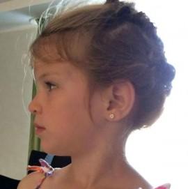 Cercei copii - Floricele cu pietricele alb si rosu aur alb