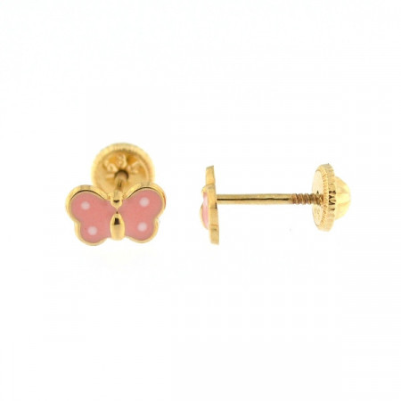 Cercei copii - Fluturasi roz