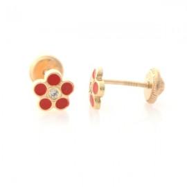 Cercei copii - Floricele rosii cu piatra zirconia
