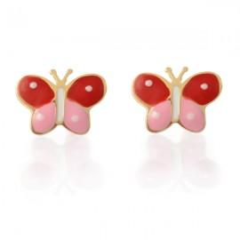 Cercei copii - Fluturasi bicolori roz cu rosu