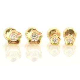 Set cercei - Floricele cu pietricica aur galben