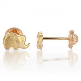 Cercei copii - Elefantei aur galben