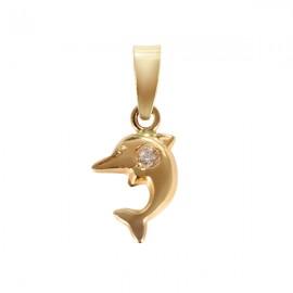 Medalion - Delfini aur galben cu pietricica