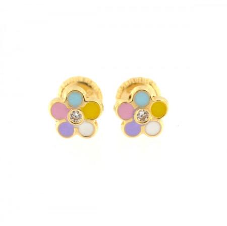 Cercei copii - Floricele multicolore cu piatra zirconia