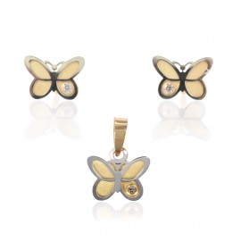 Set cercei medalion - Fluturasi cu pietricica