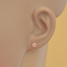 Cercei copii - Floricele roz cu piatra zirconia