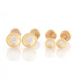 Set cercei - Rotunzi cu pietricica aur galben