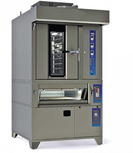 Cuptor rotativ gaz 8 tavi 400x600, vatra electrica 2 tavi 400x600, dospitor electric 12 tavi 400x600 si hota