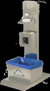 Stand de igienizare cu suport pentru manusi si gel si cos de gunoi