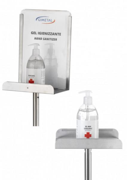 Suport din inox pentru gel dezinfectant cu panou A4 si suport pentru blocare distribuitorului