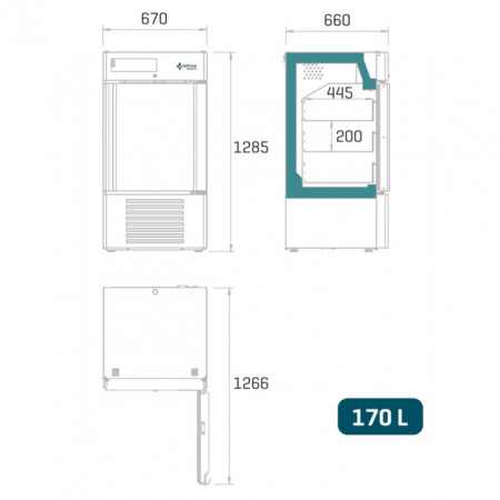 Dulap frigorific pentru spitale / banci de sange , 170 litri , usa de sticla