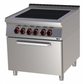 Masina de gatit electrica 4 plite radianta cu cuptor GN 2/1