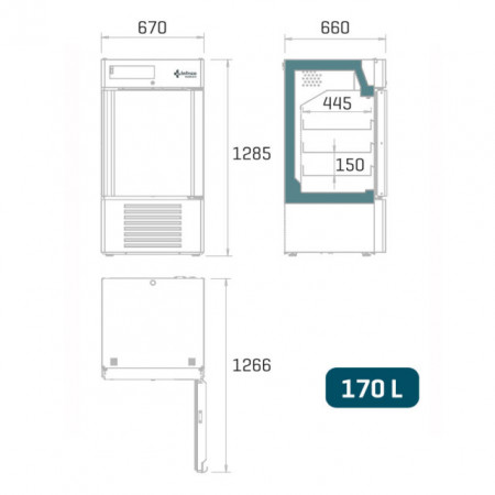 Dulap frigorific pentru farmacie , 170 litri, usa de sticla