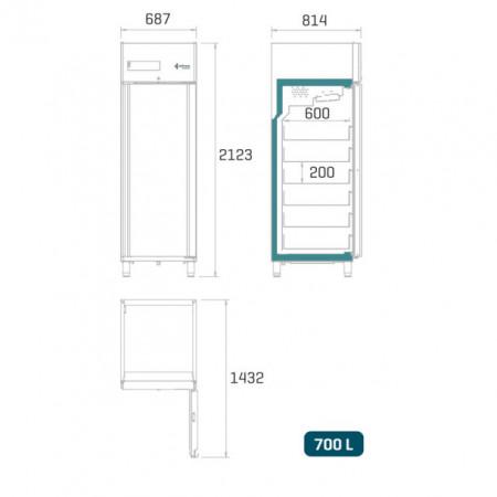 Dulap frigorific pentru spitale / banci de sange , 700 litri , usa de sticla