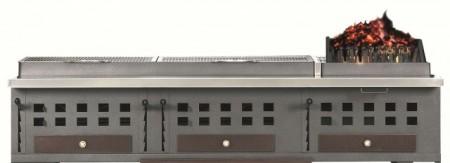 Gratar cu trei 3 tăvi de cărbune reglabile 510x420 mm