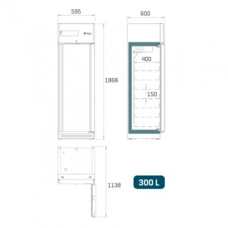 Dulap frigorific pentru farmacie , 300 litri, usa de sticla