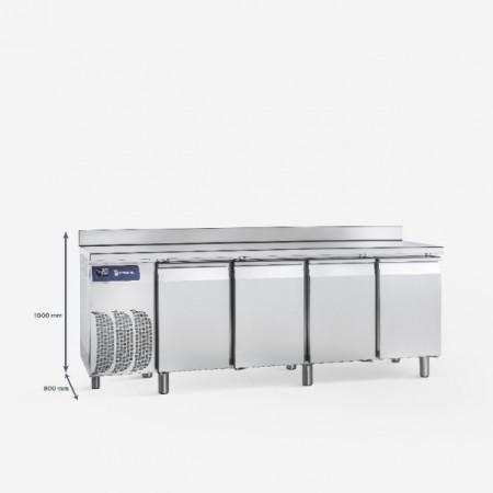 Masa frigorifica pentru patiserie cu 4 usi si rebord, 2500x800x1000 mm