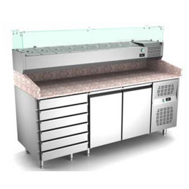 Masa frigorifica pentru pizza cu 2 usi, 6 sertare si vitrina , +2°/ +8° C