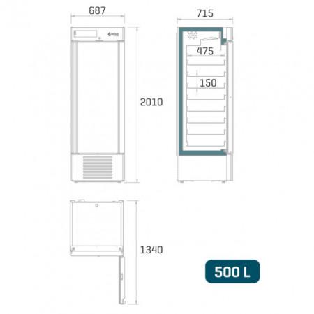 Dulap frigorific pentru farmacie , 500 litri , usa de sticla
