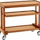 Carucior pentru servire, lemn, 3 rafturi, 810x550 mm