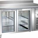Masa frigorifica 2 usi de sticla cu agregat lateral si rebord