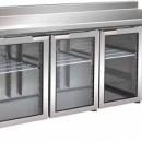 Masa frigorifica 3 usi de sticla cu agregat lateral si rebord,1795x700