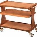 Carucior pentru servire, lemn masiv, 3 polite, 1060x550 mm