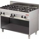 Mașină de gătit pe gaz cu 6 ochiuri si dulap deschis