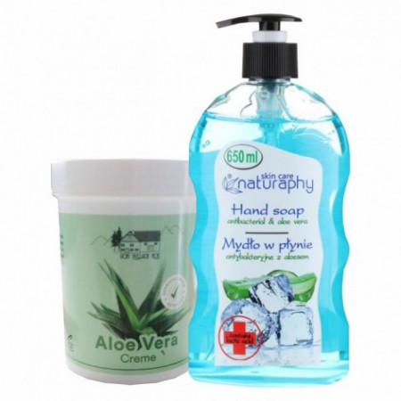 Pachet Crema cu aloe vera 150ml + Sapun lichid cu aloe vera si acid lactic 650ml