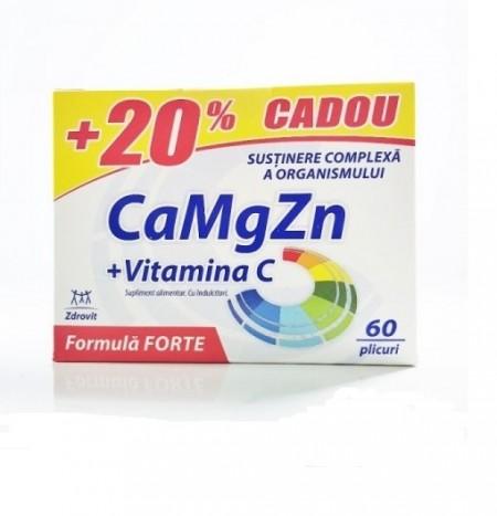 Ca+Mg+Zn+C FORTE +20% Cadou 60 plicuri