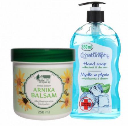 Pachet balsam cu arnica 250ml + Sapun lichid cu aloe vera si acid lactic 650ml