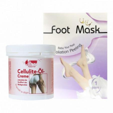 Ulei crema anticelulitic 250ml + Sosete exfoliante pentru talpi Pachet 1 ingrijire corporala