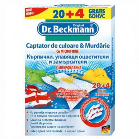 Captator culoare si murdarie Dr Beckmann, 20 buc + 4 buc Cadou