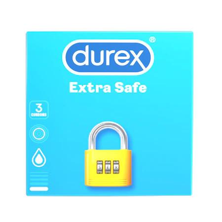 Prezervative Extra safe, 3 bucati, Durex
