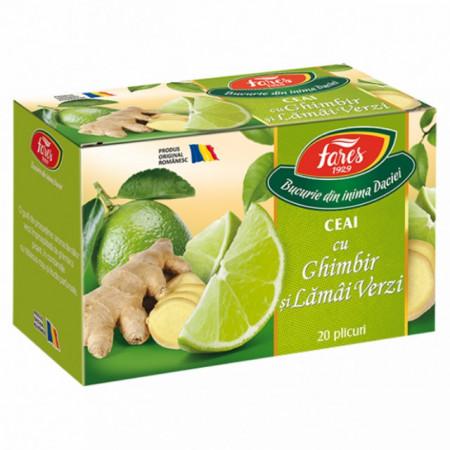 Ceai cu ghimbir și lămâi verzi, 20 doze Fares
