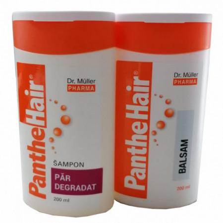 Pachet Sampon par deteriorat Panthehair 200ml + Balsam de par Panthehair 200ml
