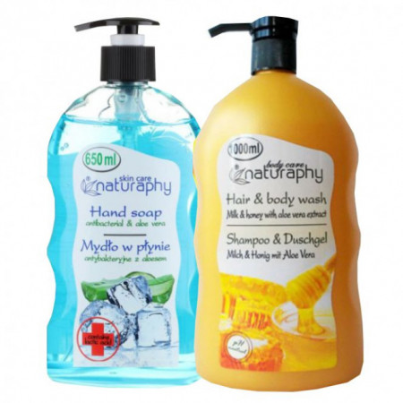 Pachet Sapun lichid cu aloe vera si acid lactic 650 ml + Sampon si gel de dus miere si lapte si aloe vera 1000ml