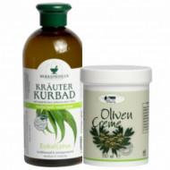 Pachet spumant de baie cu eucalipt 500ml + Crema cu ulei de masline 150ml
