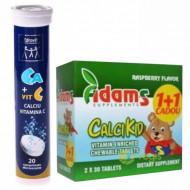 Pachet CalciKid Adams Vision 30+30cps Cadou + Calciu 300 mg + Vitamina C - 20 cpr efervescente - Zdrovit