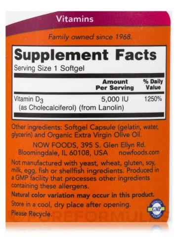 Now Vitamin D-3 5,000IU 120caps