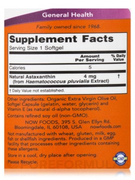 Now astaxanthin 4mg 60 Softgels