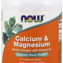 Now - Calciu & Magneziu Citrat (pulbere) - 226g