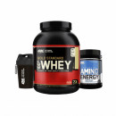 OPTIMUM NUTRITION 100% WHEY GOLD STANDARD 2270g + OPTIMUM NUTRITION AMINO ENERGY 558G + ON Mini Shaker 400ml CADOU