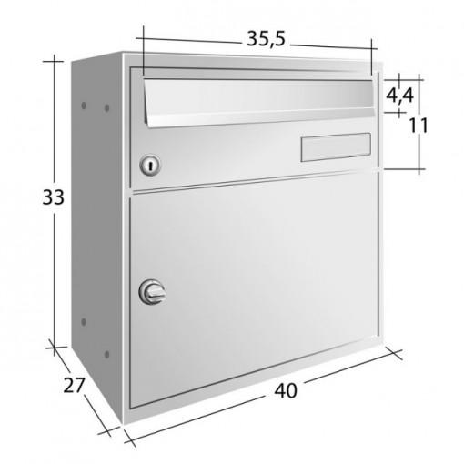 Cutie poștală cu portbagaj EasyBox Italia argintiu sau fonta gri