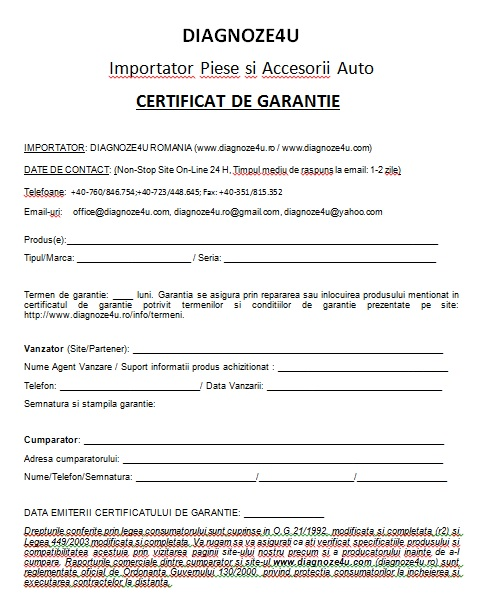 certificat de garantie testere diagnoze si programare auto. Black Bedroom Furniture Sets. Home Design Ideas