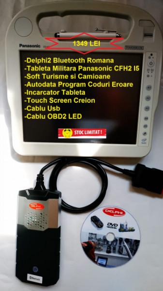 Kit Tester Auto Delfi2 + Tableta Militara Panasonic CFH2 Touchscreen + Autodata, Full Instalat Update, PROMO !