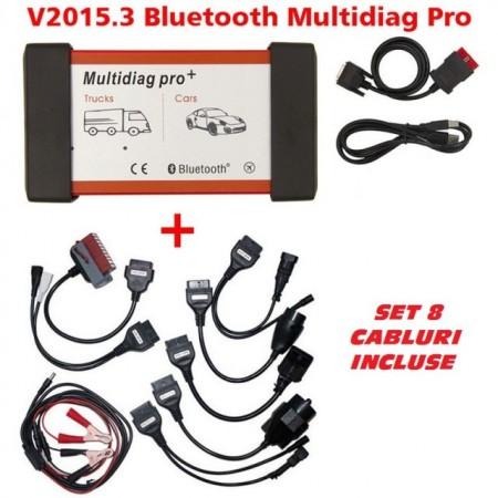 MultiDiag PRO+ Tester Auto Universal Bluetooth 12/24 V Turisme si Camioane (Set cabluri incluse)