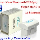 Elm327 2016 model Viecar 2.0 Bluetooth Ultima versiune V2.1 Suporta 7 Protocoale: Android/Symbian/PC OBDII CAN-BUS