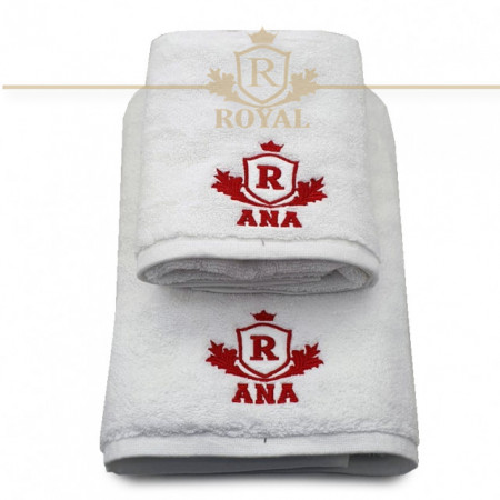 Set 2 Prosoape baie Brodate Alb cu broderie color, Royal + Nume, bumbac 100%