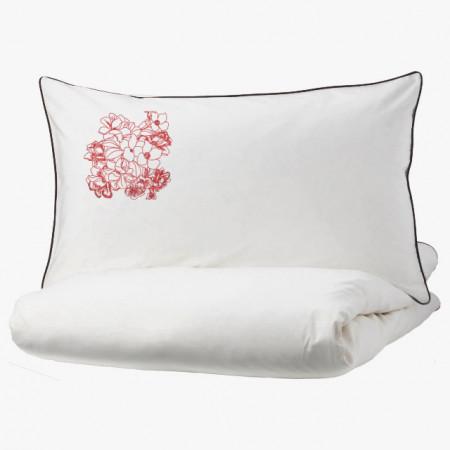 Lenjerie Ranforce -145 gr/mp - Pat Dublu cu Fete de perna brodate - Model floral 2 - Rosu 2